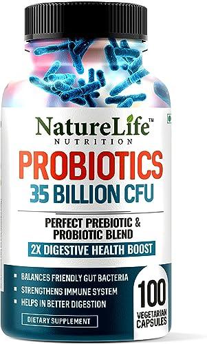 Nature Life Nutrition Probiotics 35 Billion CFU 16 Strains with Prebiotics 100 Veg Capsules Digestion Gut Health Immunity For Men Women