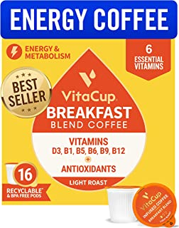 VitaCup Breakfast Blend Energy Blend Coffee Pods 16ct | Keto | Paleo | Whole30 | Vitamins..