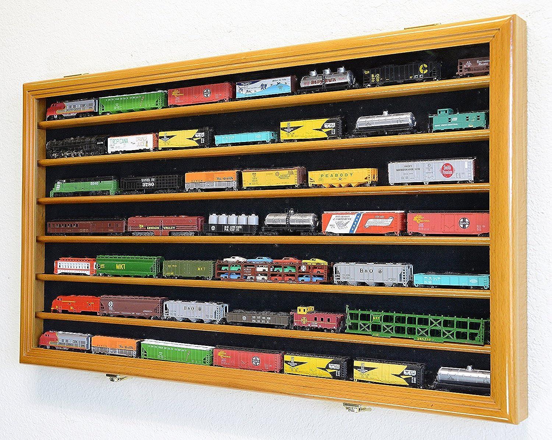 N Scale Train Display Case Cabinet Wall Rack w  UV Predection -Oak