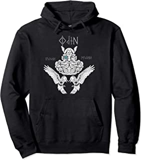 Odin Hoodie Nordic God Norse Viking Thor Mythology Ravens