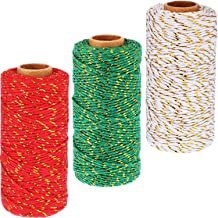 Pangda 984 Feet Christmas Decorative Bakers Twine 2 mm Gift Wrapping Twine Cotton Twine Rope Cord with Gold Wire for Christmas DIY Gift Decorations
