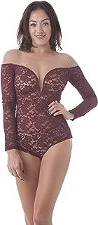 Khanomak Long Sleeve Deep V Neck Lace Mesh Illusion Bodysuit