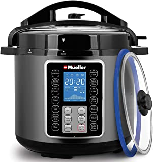 Mueller UltraPot 6Q Pressure Cooker Instant Crock 10 in 1 Pot with German ThermaV Tech, Cook 2 Dishes at Once, BONUS Tempe...