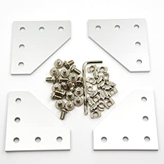 Befenybay 4PCS/Set Corner Bracket Plate with 20PCS M5x8mm Screws and 20PCS M5 T Nuts, 5-Hole Tee Outside Joining Plate for 2020 Series Aluminum Profile 3D Printer Frame (Silver L)