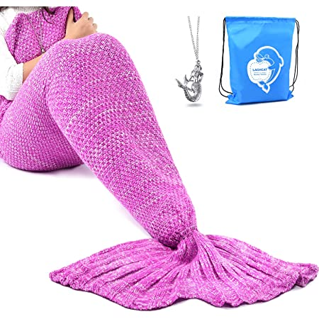 """LAGHCAT Mermaid Tail Blanket Crochet Mermaid Blanket for Adult, Soft All Seasons Snuggle Mermaid Sleeping Bag Blankets, Classic Pattern, (56""""x28"""", Pink)"""