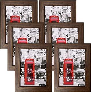[Amazonブランド] Umi.(ウミ) 写真立て 額縁 木目 2l 判 サイズ 写真額 6枚 セット 壁掛け 卓上用 縦横兼用 おしゃれ お祝い 記念日 プレゼント