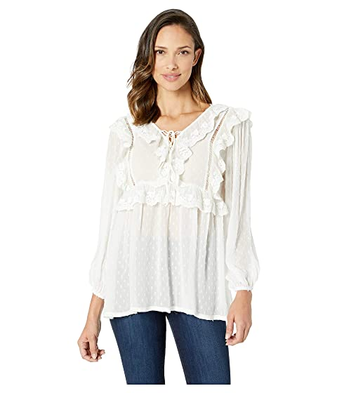 Scully Yaritza Swiss Dot Blouse w/ Ruffle Yoke Detail