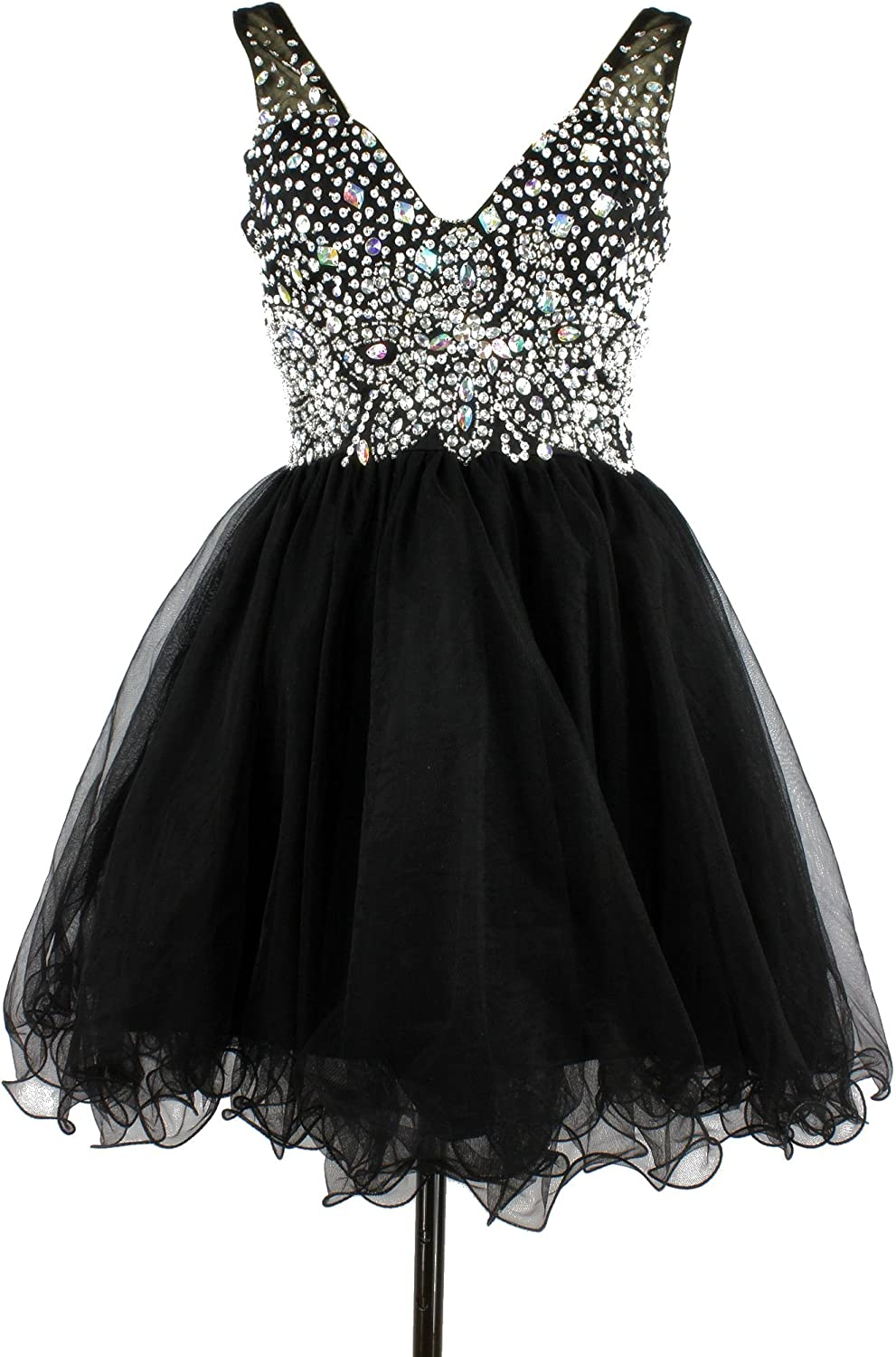 CharmingBridal Short Ball Gown Crystal Prom Dress Black Cocktail Party Dress