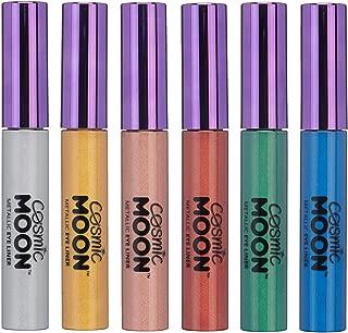 Cosmic Moon - Delineador de Ojos - 10ml - Para cautivar con los mejores estilos de ojos metálicos - Set de 6 colores - Incluye: Plata, Dorado, Oro Rosado, Rojo, Verde, Azul