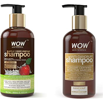 WOW Apple Cider Vinegar No Parabens & Sulphate Shampoo, 300mL And WOW Anti Dandruff No Parabens & Sulphate Shampoo, 300mL