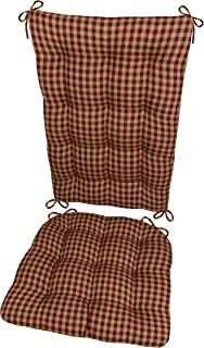 Barnett Products Rocking Chair Cushion Set - Checkers Red and Tan - Size Extra-Large - Latex Foam Filled Seat Pad and Back Rest, Reversible - 1/4
