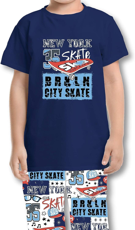 Tender Me Baby Toddler Boys Cotton Long Pants and Top Short Sleeve T Shirt Pajama Sleepwear Set (City Skate, 2t)