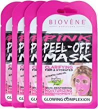 Biovène Pink Peel-Off Mask, Pack of 4 Sachets (0.42-oz ea.) With Activated Charcoal, Strawberry Extract and Collagen.