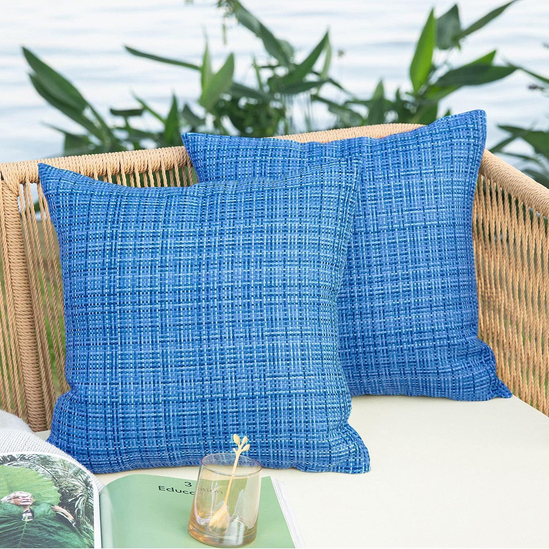 NEERYO Outdoor Throw Pillows Covers Waterproof Stripe 18x18 inch Decorative Couch Farmhouse Pillows for Patio Furniture Garden Livingroom Bed Decor Cushion Sham Throw Pillowcase Set of 2 Ocean Blue