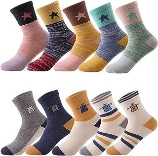storeofbaby Kids Boys Socks 10 Pairs Toddler Cute Fashion Cotton Crew Dress Socks