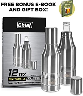 Beer Bottle Cooler- Double Wall Stainless Steel Beer Bottle Insulator. Great Gift ! BONUS e-Book and Gift Packaging Twin Pack