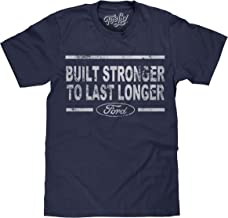 Tee Luv Built Stronger to Last Longer Ford T-Shirt - Distressed Ford Logo Shirt
