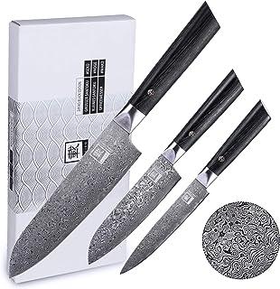 Zayiko Black Edition 3er Damastmesserset, Klingen 8,50 bis 17,70 cm Länge - 3 extra scharfe Profi Küchenmesser mit Damastklingen und Pakkaholzgriffen, Kochmesser Set