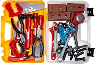 ABCZ Plastic Tools for Kids - Construction Workshop Mechanic and Power Tool Toy Kit for Kids Pretend Play with Realistic Tools and Easy-to-Carry Storage Tool Box - 49 pcs