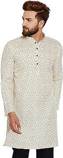 Sojanya (Since 1958) Men's Cream Cotton Linen PRINTED ONLY Long Kurta