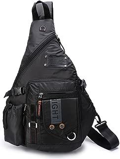 Large Sling Bags Crossbody Backpack 14.1-Inch Chest Daypack Travel Bag Book Bag for Men&Women(Black)