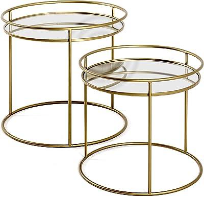 Haku Möbel Lot de 2 Tables d'appoint, Acier, Or, Ø 44/52 x H 40/48 cm