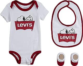 Levi's Baby Girls' Bodysuit, Bib and Bootie 3 Piece Set