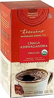 Teeccino Mushroom Adaptogen Herbal Tea – Chaga Ashwagandha Butterscotch Cream – Support Your Health with Wild-Harvested Mu...