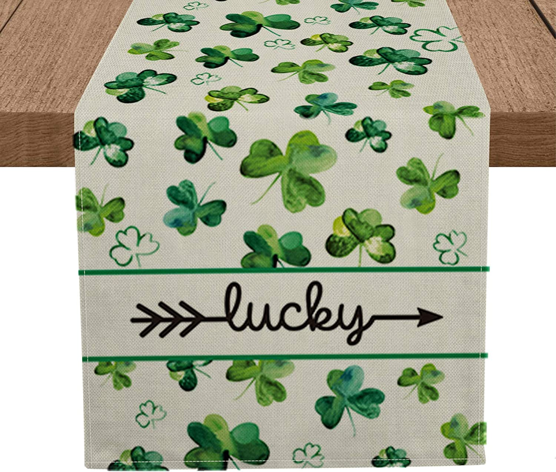 Artoid Mode Lucky Clover Shamrocks Table Runner, Seasonal St. Patrick's Day Holiday Kitchen Dining Table Runner for Home Party Decor 13 x 72 Inch