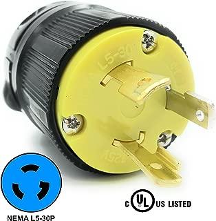 Journeyman-Pro 2611 30 Amp, 125 Volt, NEMA L5-30P, 2P, 3W, Locking Male Plug Connector, Black Industrial Grade, Grounding 3750 Watts Generator Rating (L5-30P Male Plug)