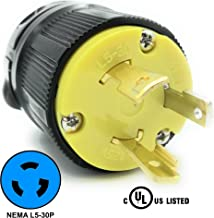 Journeyman-Pro 2611 30 Amp, 125 Volt, NEMA L5-30P, 2P, 3W, Locking Male Plug Connector, Black Industrial Grade, Grounding 3750 Watts Generator Rating (L5-30P Male Plug)
