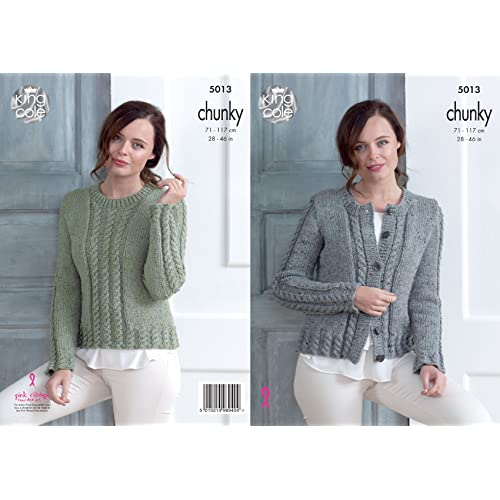 0eca7580f King Cole Ladies Chunky Knitting Pattern Womens Cabled Cardigan   Sweater  (5013)