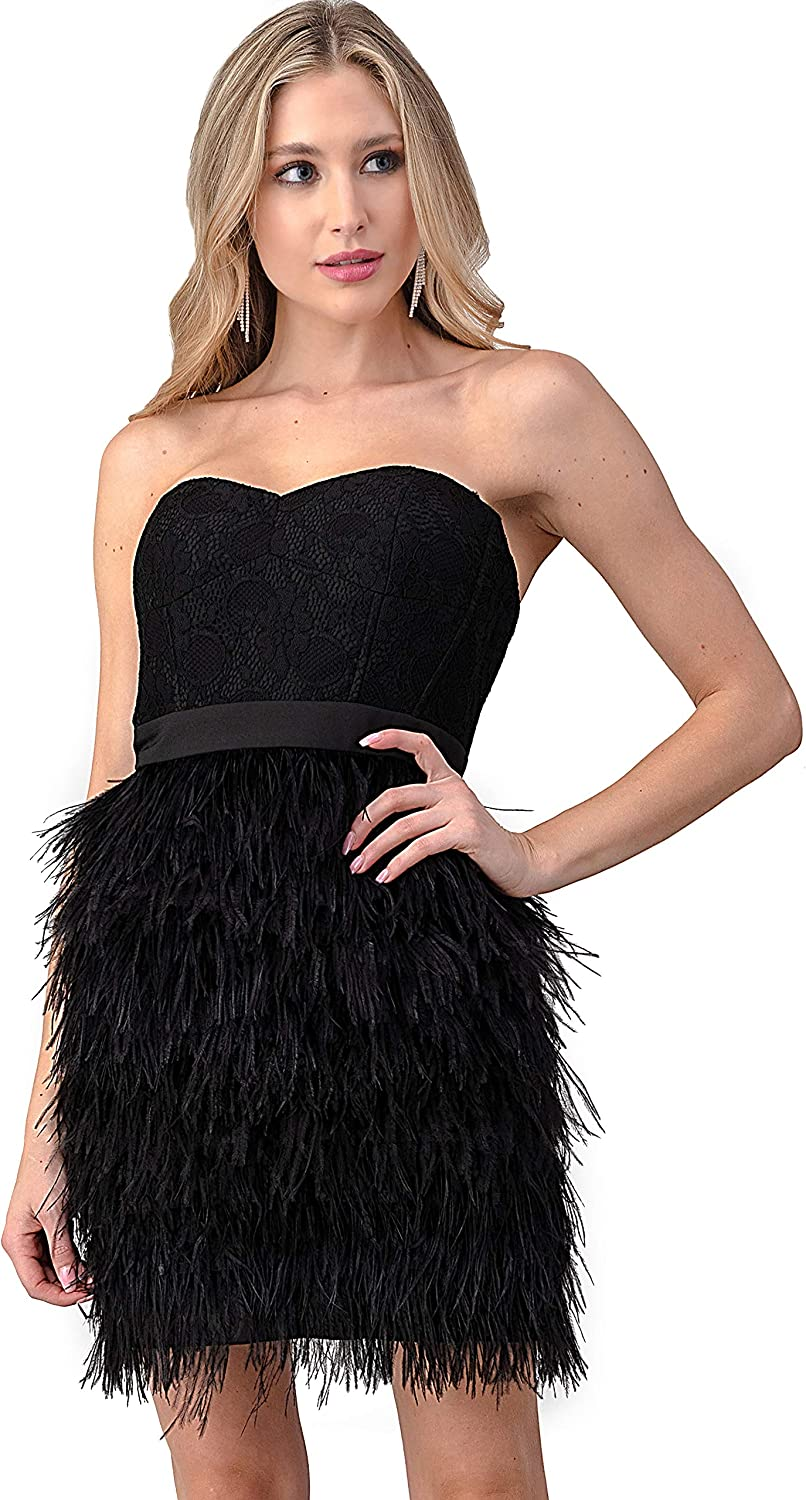Minuet Women's Lace Fitted Dress with Ostrich Feather Skirt
