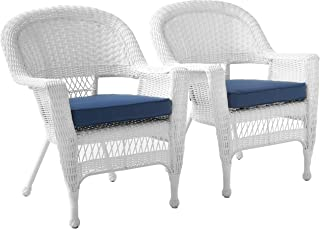 Jeco Wicker Chair with Blue Cushion, Set of 2, White/W00206-
