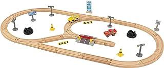 KidKraft 17213 Disney Pixar Cars 3 Build Your Own Track bilbana set av trä för barn med 57 byggstenar, leksaksbilar och ti...