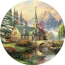 Thomas Kinkade Dogwood Chapel Round Puzzle - 500Piece