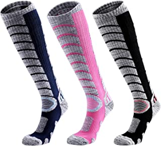 Ski Socks Women Men, 3 Pair Extra Thick Warm Snow Winter Skiing Socks Long Knee High Snow Snowboarding Skiing Socks