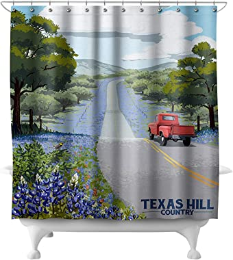Lantern Press Texas Hill County - Texas - Bluebonnets and Highway 85862 (74x74 Polyester Shower Curtain)