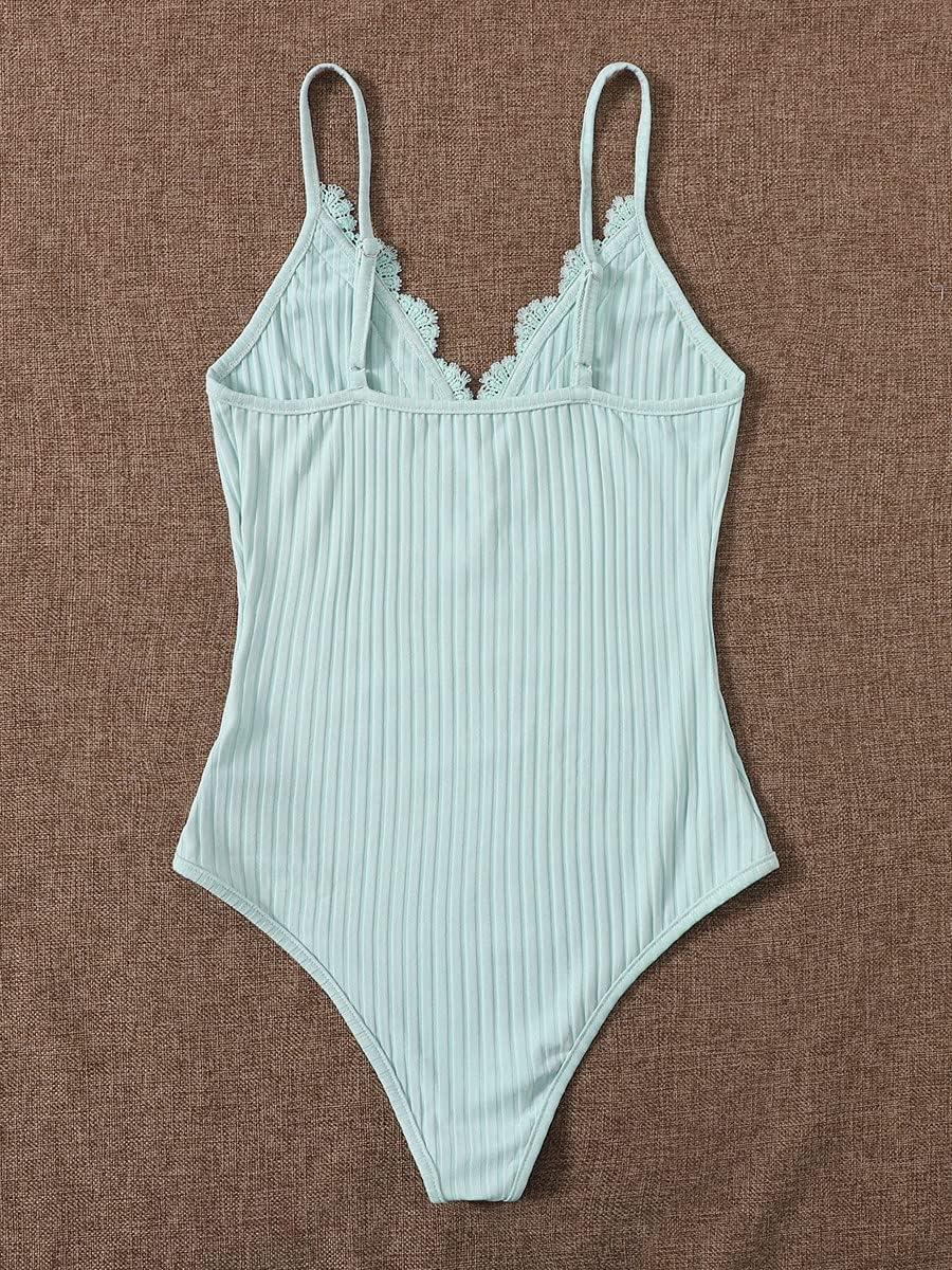JYMBK Lace Jumpsuit Contrast Lace Ribbed Cami Bodysuit (Color : Mint Blue, Size : M)