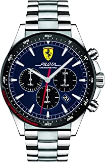 Ferrari Unisex-Adult Quartz Watch, Chronograph Display and Stainless Steel Strap 830598