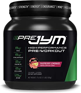 Pre JYM Pre Workout Powder - BCAAs, Creatine HCI, Citrulline Malate, Beta-Alanine, Betaine, and More | JYM Supplement Science | Raspberry Lemonade Flavor, 20 Servings