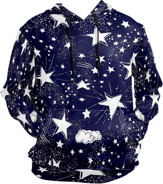 Men's Sport Hoodie Blue Star Starry Night Big and Tall Hoodies for Men Women Oversized Hooded Sweatshirt Hip Hop Pullover Hoodie Midweight Hood for Boys Girls
