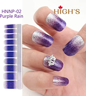 HIGH'S Nail Wraps Decals Art Transfer Sticker Manicure DIY Full Nail Polish Patch Strips with Decoration Charm for Wedding, Party, Shopping, Travelling, 20pcs (Purple Rain with charm)
