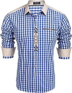 Burlady Trachten Hemd Karriert Herren Freizeithemd Karohemd holzfäller Hemden männer Checked Shirt