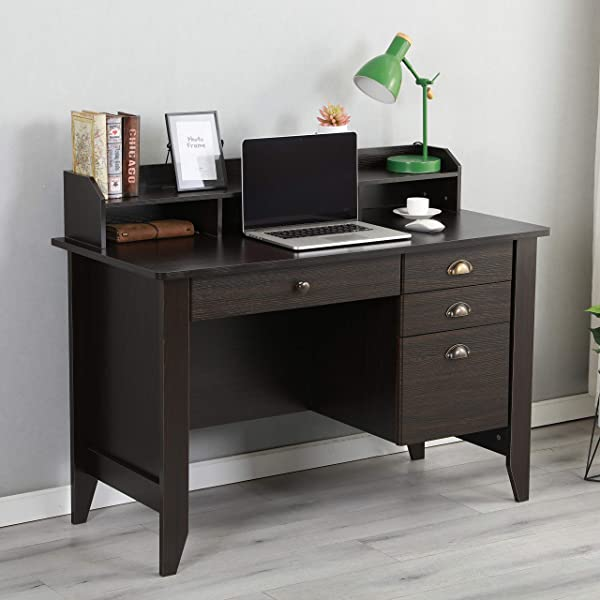 Executive Desk 47 Office Desk PC Laptop Home Office Study Writing Table With Four Drawers Wood Grain