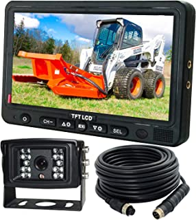 "$159 » AHD 720P, Super Clear, 7"" Wired Monitor Rear View Backup Camera System for Farm Tractor, Truck, RV, Forklift, Heavy Equipm..."