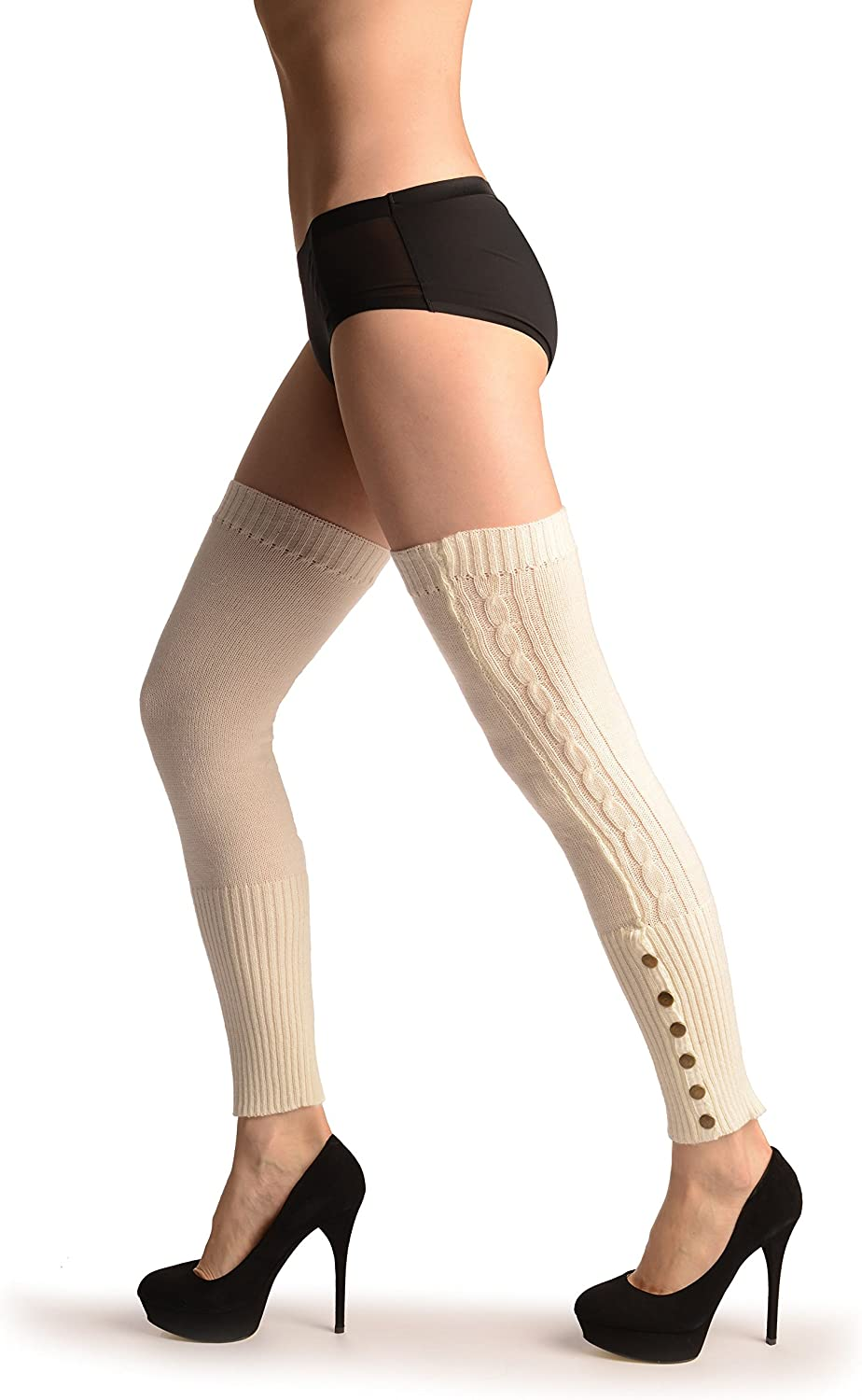 Cream With 6 Snap Buttons - Leg Warmers