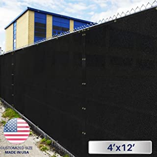 Windscreen4less Heavy Duty Privacy Screen Fence in Color Solid Black 4' x 12' Brass Grommets w/3-Year Warranty 150 GSM (Customized
