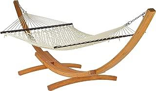 Caribbean Hammocks - Rope Hammock and Wood Arc Stand (Cream)
