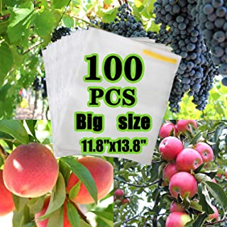 AxPower 100PCS Big Reusable Fabric Fruit Protection Bag Netting Barrier Bags for Grape Pitaya Peach Fruit and Vegetable Against from Insect Birds Pest Bug (11.8 x 13.8 Inch)